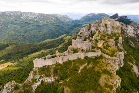 Aerial view of Castle ruin Peyrepertuse in the Aude in France Banco de Imagens