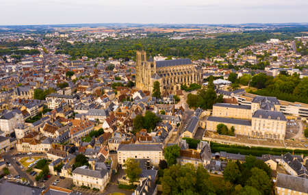 View from drone of french city Bourges