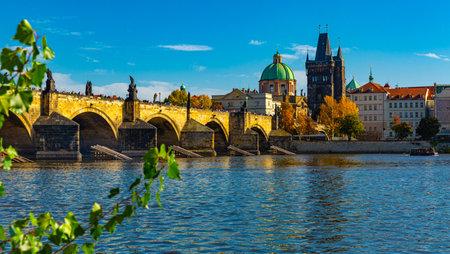 Prague cityscape with Charles Bridge, Czech Republic