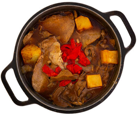 Roast veal with mushrooms in pot