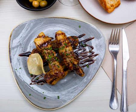 Eggplant in tempura with cane honey