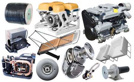 Set of yacht parts isolated on white