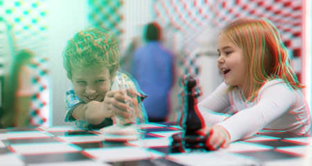 Tweens solving riddles in escape room, toned image with anaglyph effect