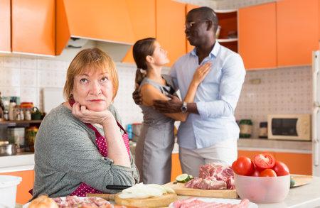 Female introducing boyfriend her unpleased mother