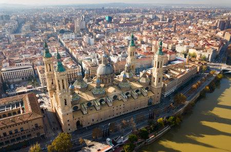 Aerial view of Basilica in Zaragoza