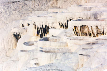 White travertine formations at hot springs of Pamukkale, Turkey