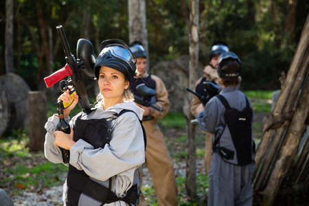 Portrait of girl at paintball shooting range