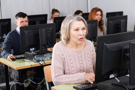 Middle aged woman taking computer lessons