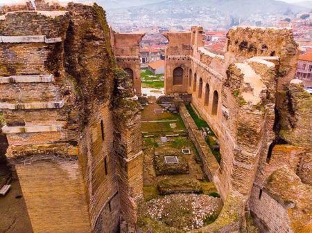 Aerial view of ruined temple of Pergamon Red Basilica, Bergama, Turkey