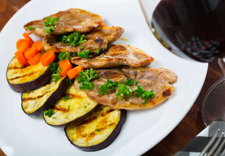 Slices of mutton with grilled eggplant