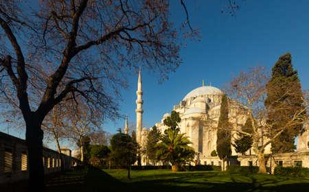 Ancient Suleymaniye Mosque in Fatih district of Istanbul, Turkey Reklamní fotografie