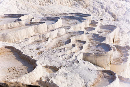 Carbonate travertines the natural pools during. Turkey