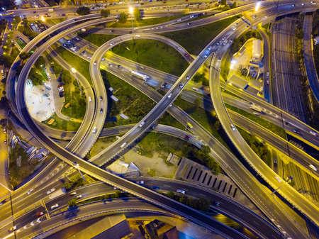 Night view of overpass interchange