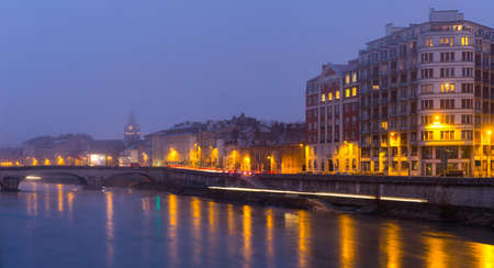 Grenoble with Isere river at twilight