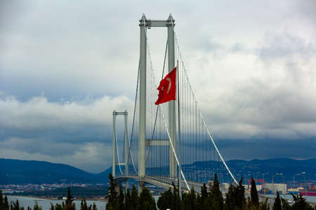 Osman Gazi Bridge spanning the Izmit Gulf, Turkey.