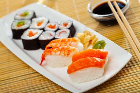 Assorted sushi maki and nigiri