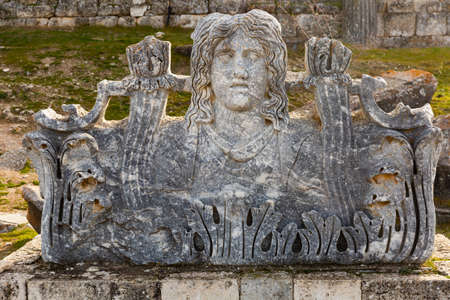 Hellenistic acroterion on ruins of Temple of Zeus in Aizanoi, Turkey