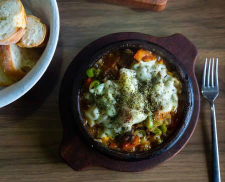 Delicious traditional dish cooked in a pot, which is called Saute in Turkish Stock Photo