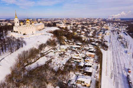 View from drone of Vladimir Dormition Cathedral on winter day, Russia