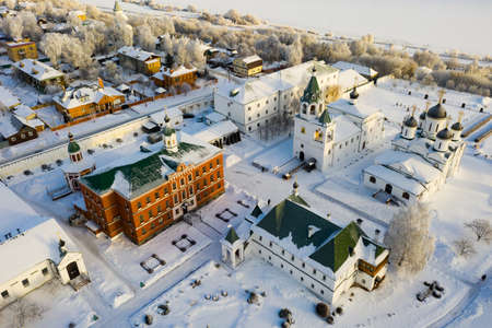 View from drone of Murom Transfiguration Monastery in winter, Russia