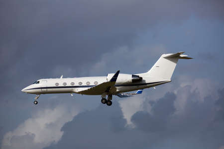 Private jet approaching landing