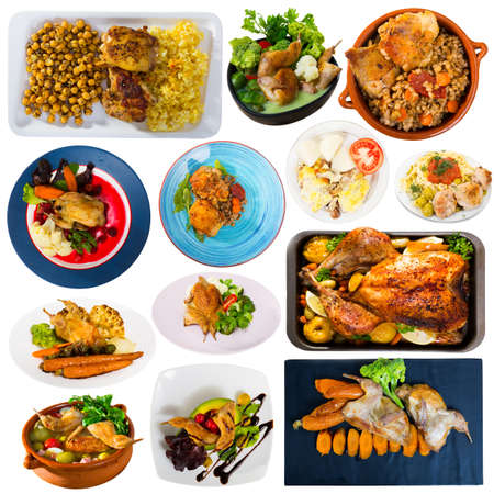 Set of poultry food isolated