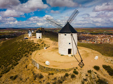Aerial view of Route of Don Quixote with windmills in Consuegra