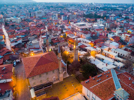Residential districts of Burdur and Great Mosque on winter evening
