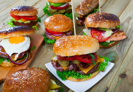 Set of burgers made with various fillings Banco de Imagens