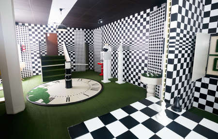 View of interior of quest room stylized under chessboard