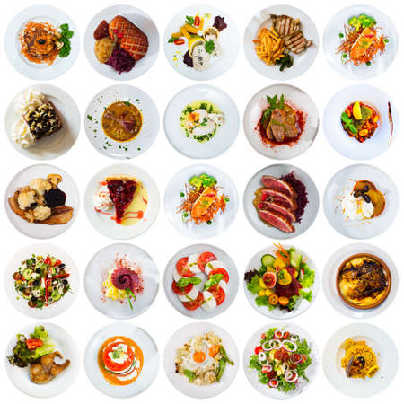 Collection of dishes on round plates
