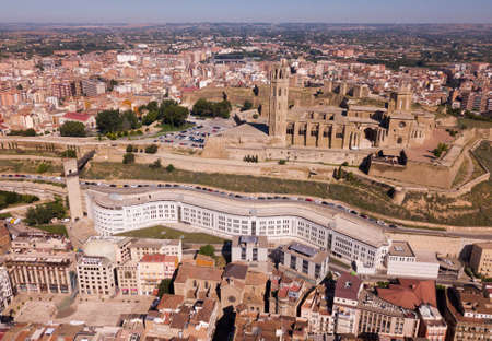 View from drone of Cathedral of Lleida