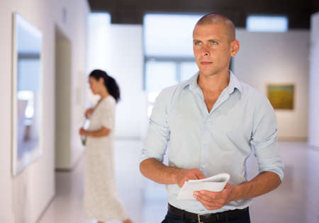 Adult man in gallery