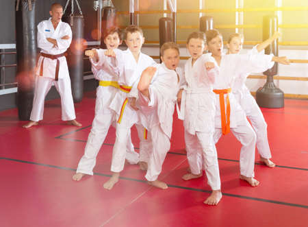 Group of karate kids with trainer Stock fotó