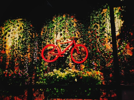 Bicycle as a decoration on the wall