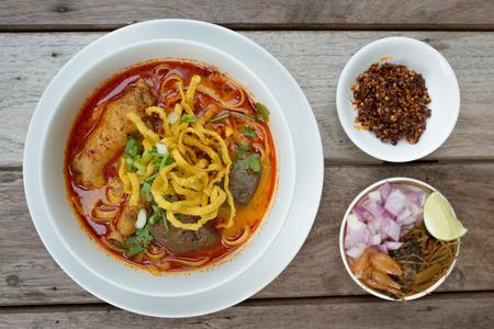 soi: Egg noodle in chicken curry, Thai food, Kao Soi Kai Stock Photo