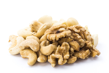 all kind of nut on white background