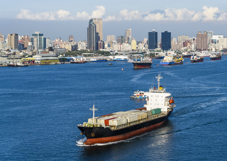 Container ship in the port of Kaohsiung, Taiwan.