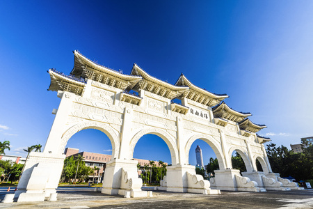 The main gate of National Taiwan Democracy Memorial Hall (National Chiang Kai-shek Memorial Hall) in Taipei, Taiwan