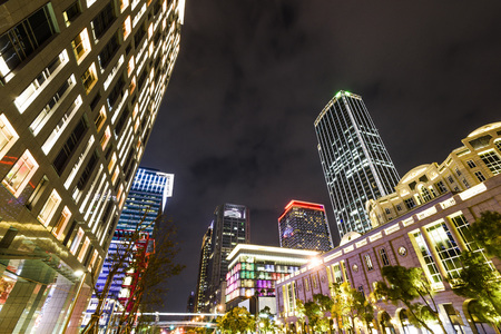 Taipei, Taiwan. Street view and cityscape in the Xinyi District in the night.