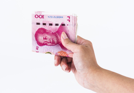 asian hand hold Chinese Rmb banknote money