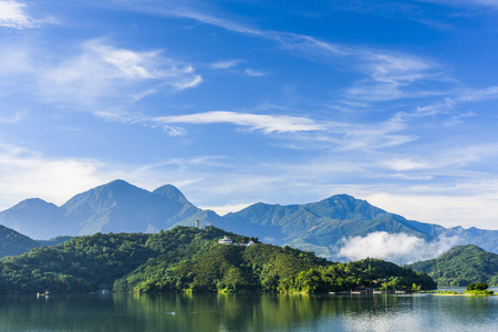 Scenery of Sun Moon Lake in Taiwan, Asia.