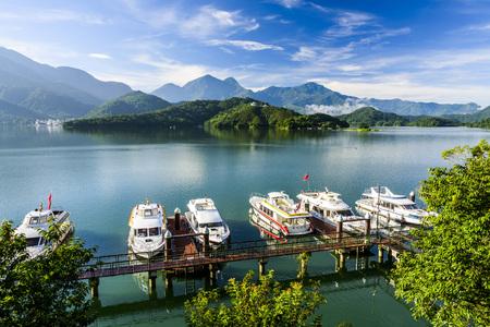 Landschap van Sun Moon Lake, de beroemde attractie in Taiwan, Azië. Stockfoto