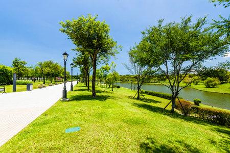 Beautiful Tainan Metropolitan Park in Taiwan. is a free open outdoor public space. Stock Photo