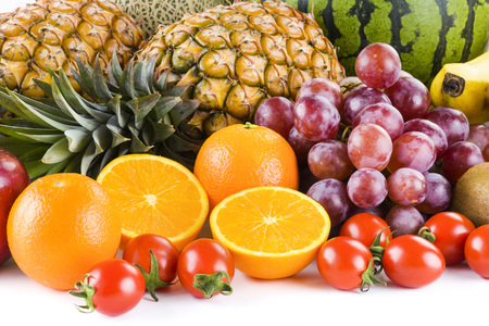 Fresh fruits on white background