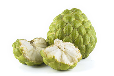 Ripe Sugar Apple fruit isolated on white background Imagens