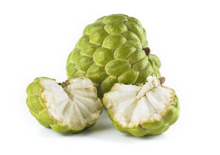 Ripe Sugar Apple fruit isolated on white background 版權商用圖片