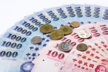 Closeup of Taiwanese currency Banco de Imagens