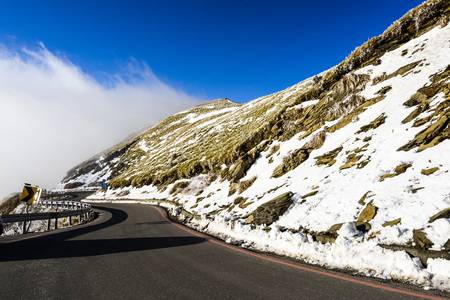 Mountain with snow and ice on road in Mt. Hehuan, Taiwan, Asia.
