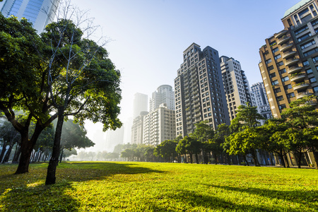 View of a park in the downtown area of Taichung in Taiwan